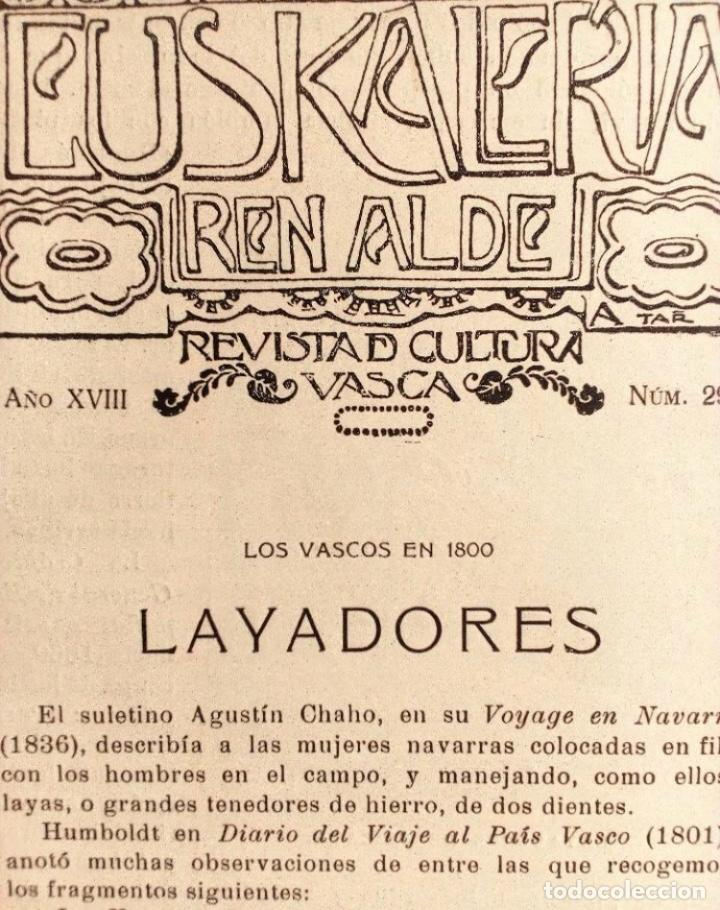 Coleccionismo de Revistas y Periódicos: EUSKALERRIAREN ALDE REVISTA DE CULTURA VASCA 1928 NÚMEROS 291 Y 292 (ABRIL Y MARZO). - Foto 2 - 128397147