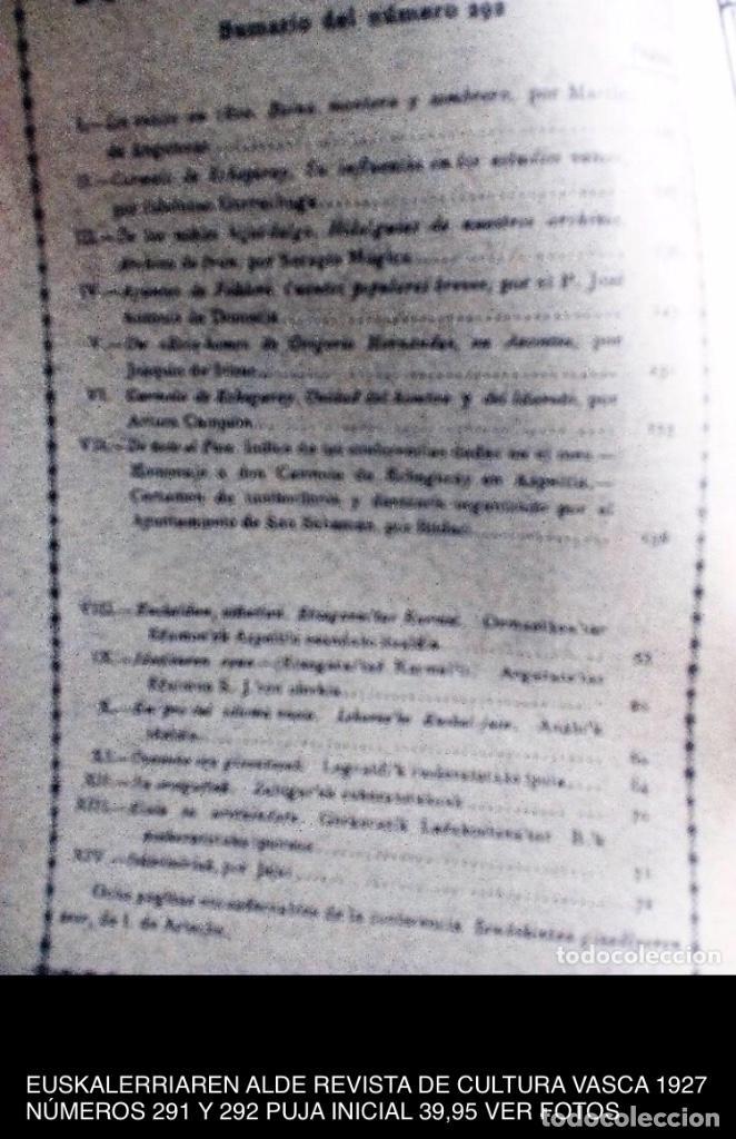 Coleccionismo de Revistas y Periódicos: EUSKALERRIAREN ALDE REVISTA DE CULTURA VASCA 1928 NÚMEROS 291 Y 292 (ABRIL Y MARZO). - Foto 13 - 128397147