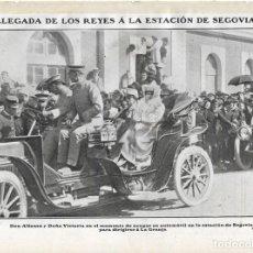 Coleccionismo de Revistas y Periódicos: 1907 HOJA REVISTA SEGOVIA ESTACIÓN REY ALFONSO XIII REINA VICTORIA EN AUTOMÓVIL. Lote 128548175