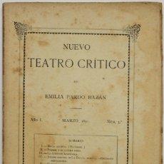 Coleccionismo de Revistas y Periódicos: NUEVO TEATRO CRÍTICO. AÑO I. MARZO, 1891. NÚM 3. - [REVISTA.] PARDO BAZÁN, EMILIA.. Lote 123270783