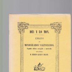 Colecionismo de Revistas e Jornais: DEU Y LO MON - MONOSÍLABOS VALENCIANOS - BENITO ALTET Y RUATE / FACSIMIL 1979. Lote 128819259