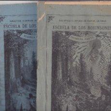 Coleccionismo de Revistas y Periódicos: ESCUELA DE LOS ROBINSONES JULES VERNE GASPAR MADRID 1884 PRIMERA Y SEGUNDA COMPLETO.(TAPAS ROTAS). Lote 194744568