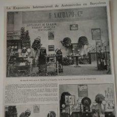 Coleccionismo de Revistas y Periódicos: HOJA REVISTA ORIGINAL ANTIGUA. EXPOSICION UNIVERSAL AUTOMOVILES BARCELONA, F XAUDARO Y CIA. Lote 129538631