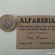 Coleccionismo de Revistas y Periódicos: PUBLICIDAD REVISTA ORIGINAL 1949. ALFARERIA SUCESORES JOSE NOGUERA, LLUCHMAYOR. Lote 129643919