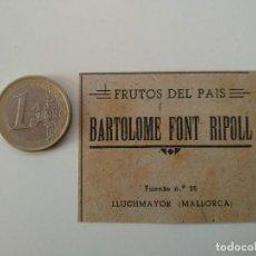 Coleccionismo de Revistas y Periódicos: PUBLICIDAD REVISTA ORIGINAL 1949. BARTOLOME FONT RIPOLL FRUTOS DEL PAIS, LLUCHMAYOR. Lote 129644191