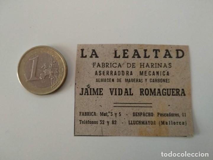PUBLICIDAD REVISTA ORIGINAL 1949. FABRICA HARINAS LA LEALTAD, JAIME VIDAL, LLUCHMAYOR (Coleccionismo - Revistas y Periódicos Modernos (a partir de 1.940) - Otros)