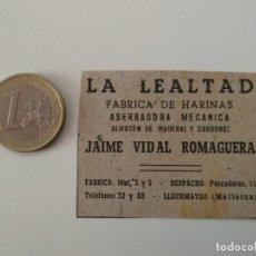 Coleccionismo de Revistas y Periódicos: PUBLICIDAD REVISTA ORIGINAL 1949. FABRICA HARINAS LA LEALTAD, JAIME VIDAL, LLUCHMAYOR. Lote 129644655