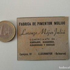 Coleccionismo de Revistas y Periódicos: PUBLICIDAD REVISTA ORIGINAL 1949.FABRICA PIMENTON MOLIDO LORENZO MOJER JULIA, LLUCHMAYOR. Lote 129645403