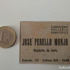 Coleccionismo de Revistas y Periódicos: PUBLICIDAD REVISTA ORIGINAL 1949. CARNICERIA JOSE PERELLO MONJO, PALMA MALLORCA. Lote 129645431