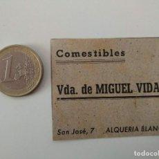 Coleccionismo de Revistas y Periódicos: PUBLICIDAD REVISTA ORIGINAL 1949.COMESTIBLES VDA MIGUEL VIDAL, ALQUERIA BLANCA MALLORCA. Lote 129645523