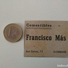 Coleccionismo de Revistas y Periódicos: PUBLICIDAD REVISTA ORIGINAL 1949. COMESTIBLES FRANCISCO MAS, ES LLOMBARDS MALLORCA. Lote 129645571