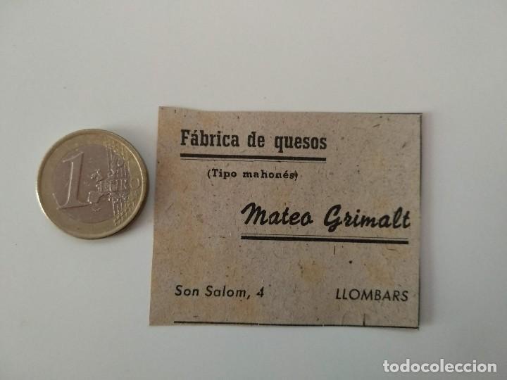 PUBLICIDAD REVISTA ORIGINAL 1949. FABRICA DE QUESOS MATEO GRIMALT, LLOMBARDS MALLORCA (Coleccionismo - Revistas y Periódicos Modernos (a partir de 1.940) - Otros)