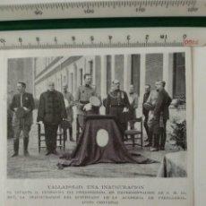 Coleccionismo de Revistas y Periódicos: RECORTE REVISTA ORIGINAL ANTIGUO. INAUGURACION INTERNADO ACADEMIA CABALLERIA VALLADOLID. Lote 131714074