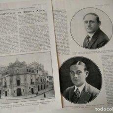 Coleccionismo de Revistas y Periódicos: REPORTAJE REVISTA ORIGINAL ANTIGUO.EL CONSERVATORIO DE BUENOS AIRES. Lote 132263422