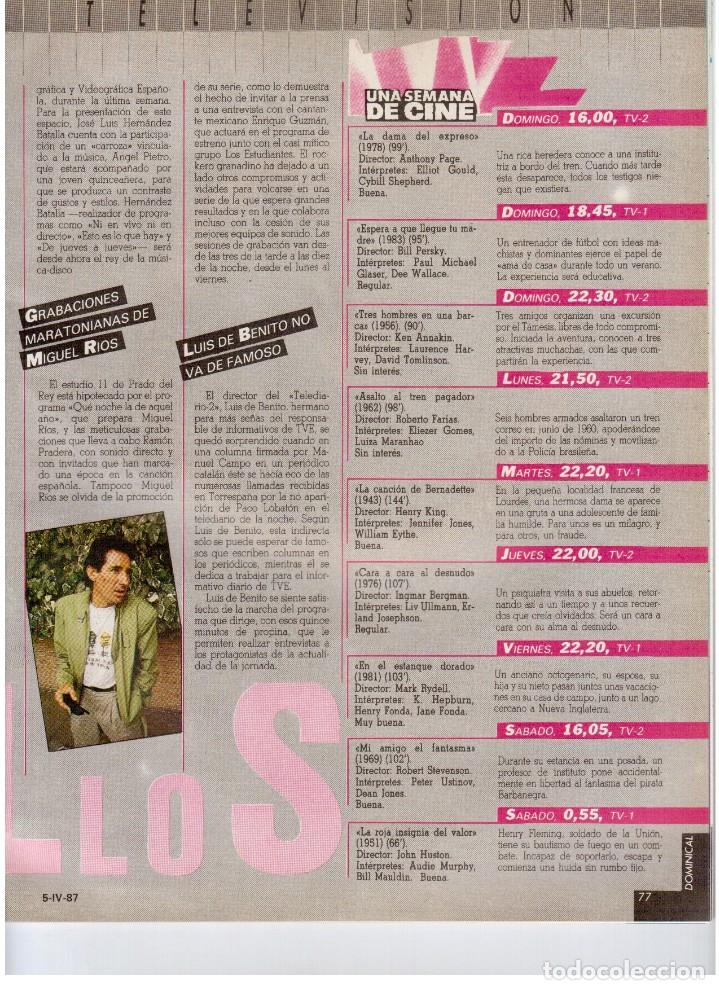 Coleccionismo de Revistas y Periódicos: 1987. EVARISTO GUERRA. SEMANA SANTA A PUNTO DE NAZARENO. GRABACIONES MARATONIANAS DE MIGUEL RIOS. - Foto 11 - 132400182