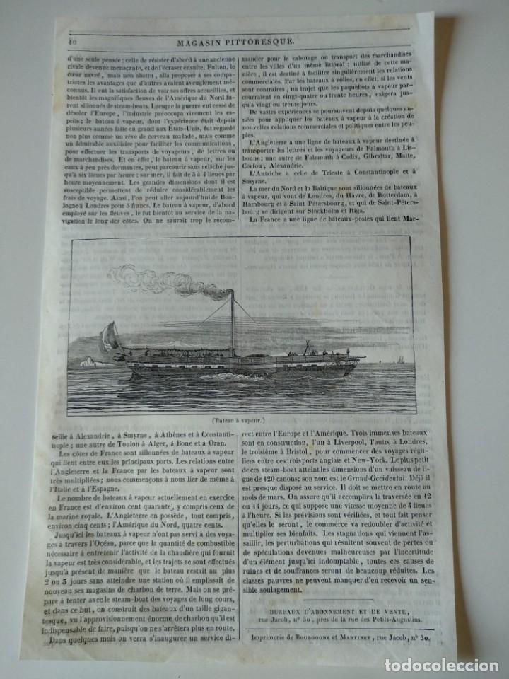 HOJA GRABADO REVISTA ORIGINAL SIGLO XIX. BARCO A VAPOR (Coleccionismo - Revistas y Periódicos Antiguos (hasta 1.939))