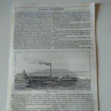 Coleccionismo de Revistas y Periódicos: HOJA GRABADO REVISTA ORIGINAL SIGLO XIX. BARCO A VAPOR. Lote 132463894