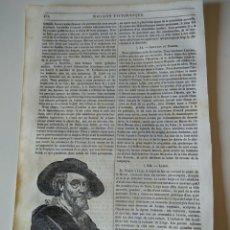 Coleccionismo de Revistas y Periódicos: HOJA GRABADO REVISTA ORIGINAL SIGLO XIX. RUBENS, RETRATO. Lote 132463954