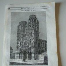 Coleccionismo de Revistas y Periódicos: HOJA GRABADO REVISTA ORIGINAL SIGLO XIX.VISTA CATEDRAL DE TOUL. Lote 132464310