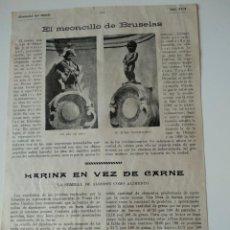 Coleccionismo de Revistas y Periódicos: HOJA REVISTA ORIGINAL 1915.EL MEONCILLO DE BRUSELAS. Lote 132467730