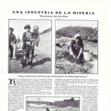 Collezionismo di Riviste e Giornali: 1907 HOJA REVISTA SEVILLA INDUSTRIA DE LA MISERIA JUNTO A FÁBRICA DE GAS GOLFOS RECOGEN CARBONCILLA. Lote 132555342