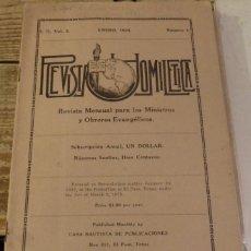 Coleccionismo de Revistas y Periódicos: REVISTA HOMILETICA, SERIE II, VOL.2, NUM.1, RELIGION EVANGELISTA, ENERO1924. Lote 132587742