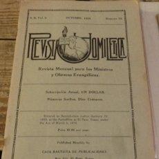 Coleccionismo de Revistas y Periódicos: REVISTA HOMILETICA, SERIE II, VOL.3, NUM.10, RELIGION EVANGELISTA, OCTUBRE 1925. Lote 132587930