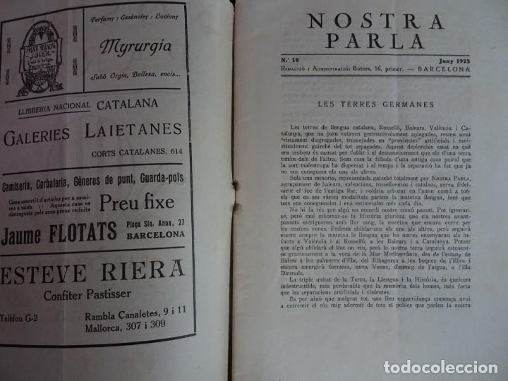 Coleccionismo de Revistas y Periódicos: ANTIGUA REVISTA - NOSTRA PARLA - Nº 18 JUNIO 1923 , VER FOTOS - Foto 2 - 132588926