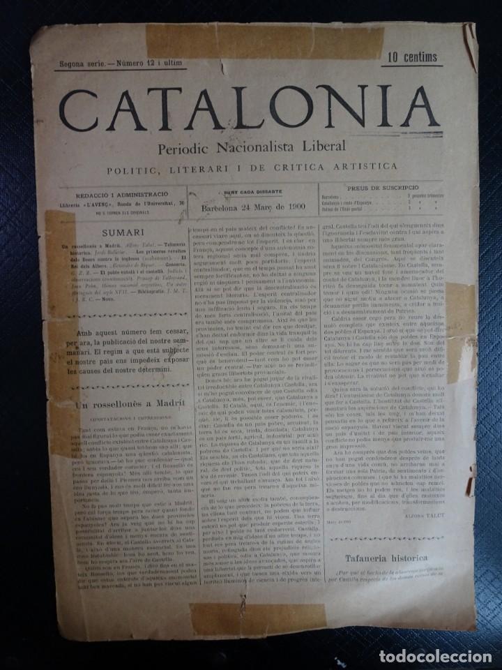 ANTIGUO PERIODICO NACIONALISTA LIBERAL - CATALONIA - Nº 12 MARZO 1900 , VER FOTOS (Coleccionismo - Revistas y Periódicos Antiguos (hasta 1.939))