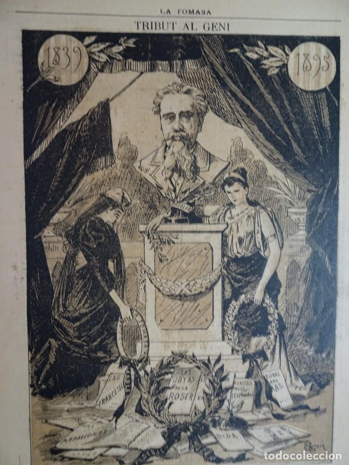 Coleccionismo de Revistas y Periódicos: ANTIGUO SEMANARIO CATALAN - LA TOMASA - HOMENAJE A FREDERIC SOLER, Nº 358 JULIO 1895 , VER FOTOS - Foto 3 - 132622790