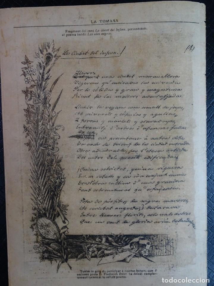 Coleccionismo de Revistas y Periódicos: ANTIGUO SEMANARIO CATALAN - LA TOMASA - HOMENAJE A FREDERIC SOLER, Nº 358 JULIO 1895 , VER FOTOS - Foto 7 - 132622790