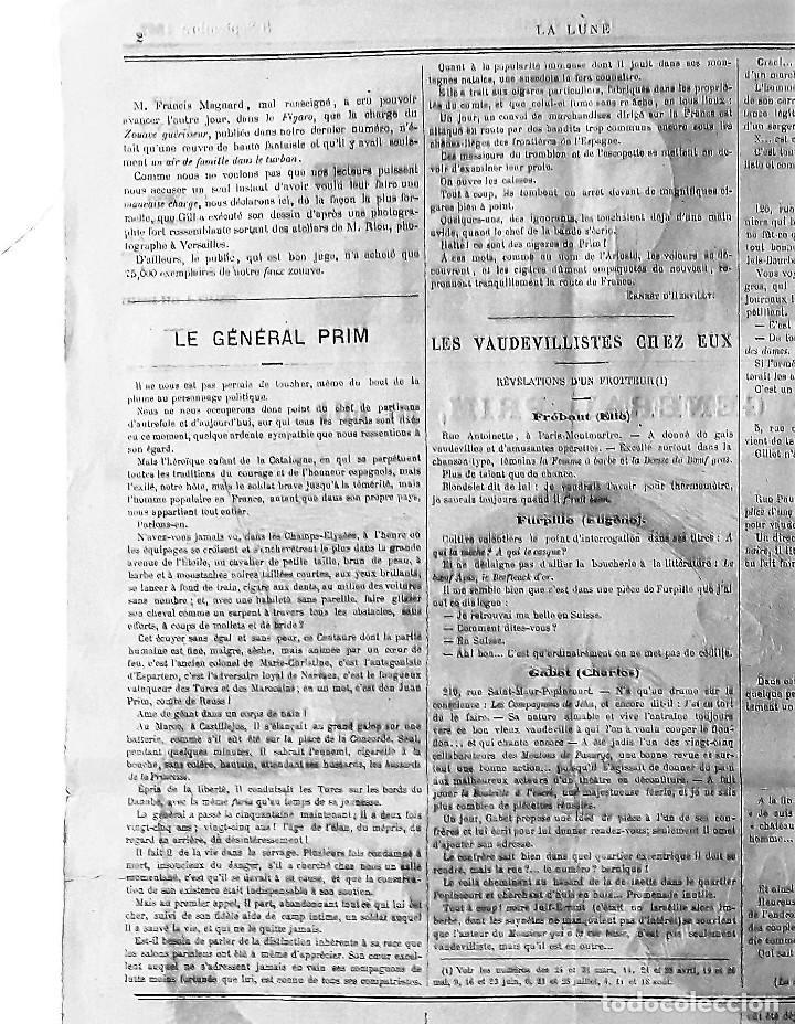 Coleccionismo de Revistas y Periódicos: EL GENERAL PRIM REUS CARICATURA DE ANDRÉ GILL SEMANARIO HUMORÍSTICO LA LUNE 1867 FRANCIA ENMARCADO - Foto 4 - 132705722