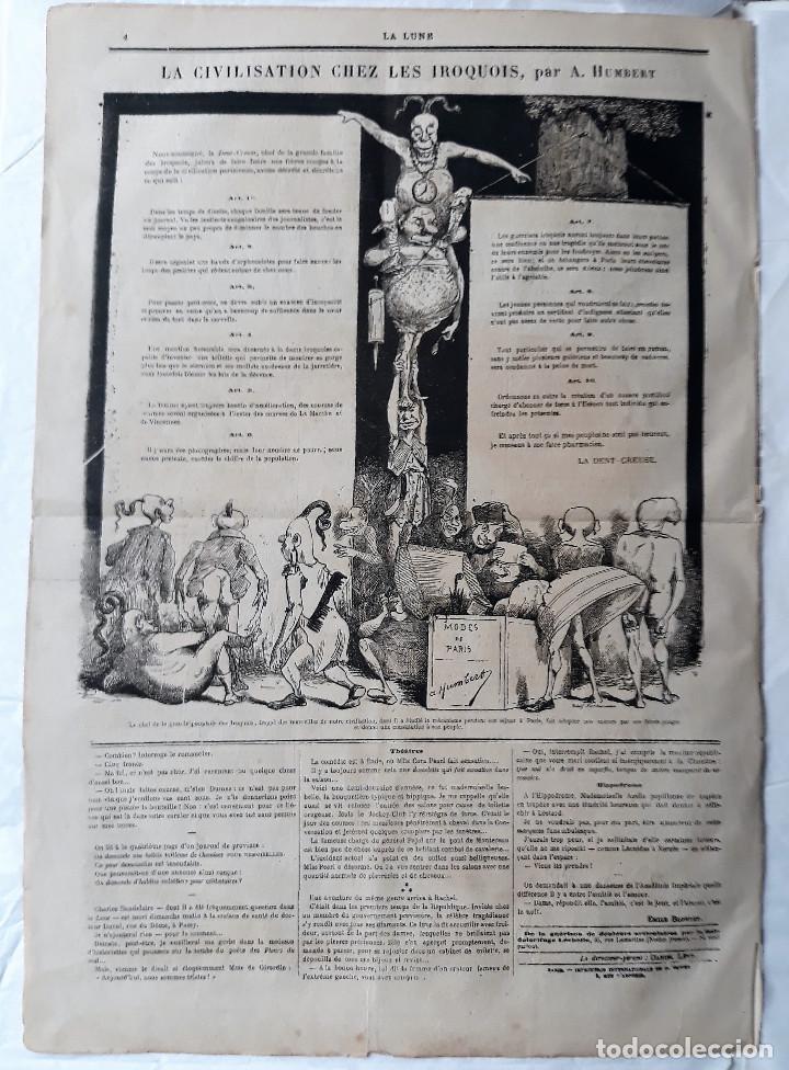 Coleccionismo de Revistas y Periódicos: EL GENERAL PRIM REUS CARICATURA DE ANDRÉ GILL SEMANARIO HUMORÍSTICO LA LUNE 1867 FRANCIA ENMARCADO - Foto 5 - 132705722