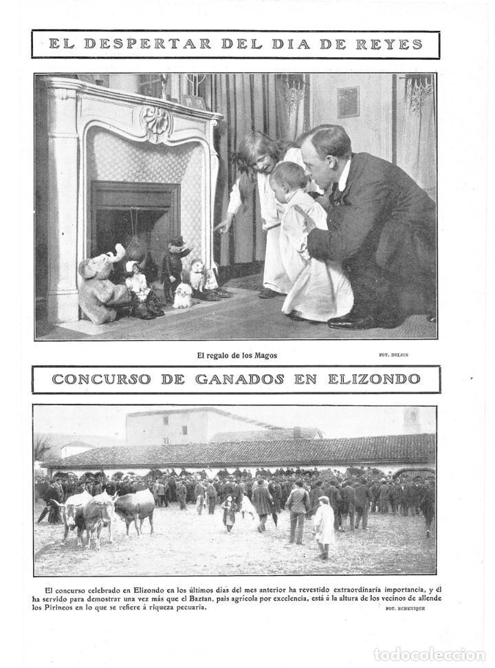 1909 HOJA REVISTA NAVARRA VALLE DEL BAZTAN ELIZONDO CONCURSO DE GANADOS - DÍA DE REYES REGALOS (Coleccionismo - Revistas y Periódicos Antiguos (hasta 1.939))
