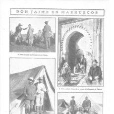 Collezionismo di Riviste e Giornali: 1909 HOJA REVISTA MARRUECOS TÁNGER JAIME DE BORBÓN HIJO PRETENDIENTE CARLOS DE CAZA CACERÍA. Lote 132937102
