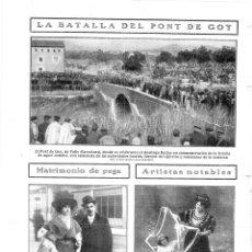 Colecionismo de Revistas e Jornais: 1909 HOJA REVISTA TARRAGONA VALLS CONMEMORACIÓN BATALLA DEL PONT DE GOI GOY AUTORIDADES SOMATENES. Lote 133045566
