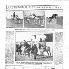 Coleccionismo de Revistas y Periódicos: 1909 HOJA REVISTA MADRID HIPÓDROMO CONCURSO HÍPICO INTERNACIONAL DE SALTOS CABALLOS. Lote 133378262