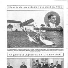 Coleccionismo de Revistas y Periódicos: 1909 HOJA REVISTA FRANCIA NIZA ACCIDENTE MUERTE AVIADOR ESPAÑOL ANTONIO FERNÁNDEZ AEROPLANO. Lote 134402706