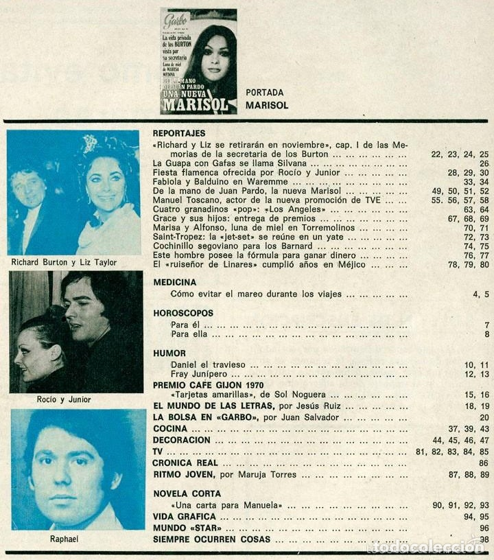 Coleccionismo de Revistas y Periódicos: GARBO - 1970 - MARISOL, ROCÍO DÚRCAL, JUNIOR, MANOLO TOSCANO, LOS ANGELES, RAPHAEL, GRACIA DE MÓNACO - Foto 2 - 57800548