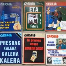Coleccionismo de Revistas y Periódicos: GARAIA - LOTE DE 6 REVISTAS DE POLÍTICA VASCA DEL AÑO 1976 Y 1977 - ENTREVISTA A ETA, XABIER ARZALLU. Lote 134587914