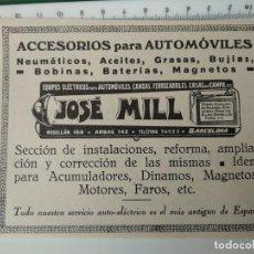 Coleccionismo de Revistas y Periódicos: PUBLICIDAD REVISTA ORIGINAL 1929. ACCESORIOS AUTOMOVILES JOSE MILL,BARCELONA. Lote 135250554