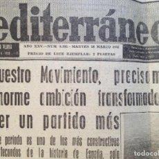 Coleccionismo de Revistas y Periódicos: MEDITERRANEO MARTES 18 MARZO 1963. Lote 135329970