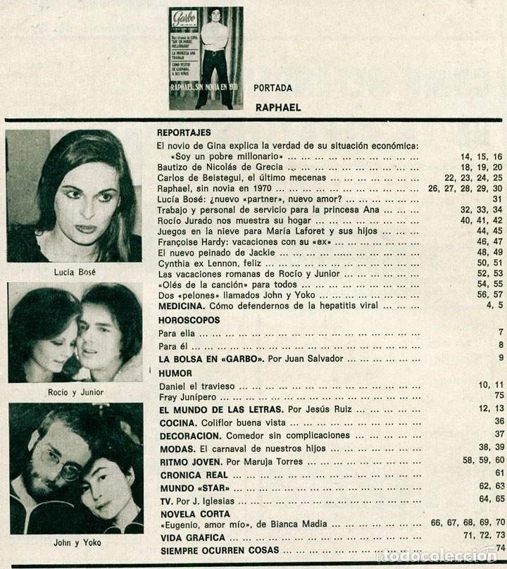 Coleccionismo de Revistas y Periódicos: GARBO - 1970 - RAPHAEL, LUCÍA BOSÉ, ROCÍO JURADO, ROCÍO DÚRCAL Y JUNIOR, JOHN LENNON, JACKIE ONASSIS - Foto 2 - 57799286
