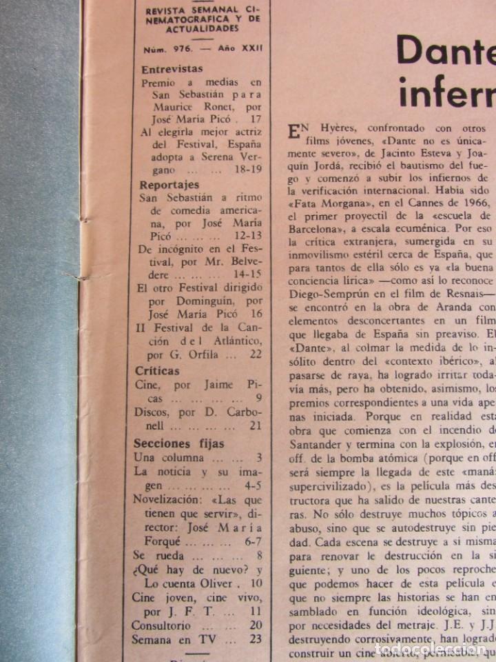 Coleccionismo de Revistas y Periódicos: Revista Fotogramas Nº 976 1967. Festival San Sebastian - Foto 2 - 135734059
