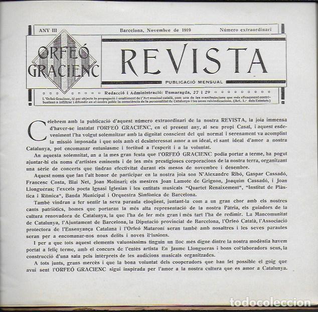 Coleccionismo de Revistas y Periódicos: Orfeó Gracienc. Novembre 1919. Número extraordinari ... adquisició casal propi. - Foto 2 - 135933778