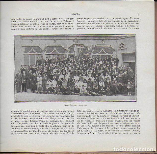 Coleccionismo de Revistas y Periódicos: Orfeó Gracienc. Novembre 1919. Número extraordinari ... adquisició casal propi. - Foto 3 - 135933778