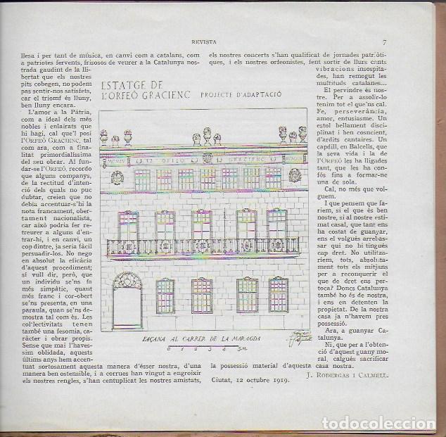 Coleccionismo de Revistas y Periódicos: Orfeó Gracienc. Novembre 1919. Número extraordinari ... adquisició casal propi. - Foto 4 - 135933778