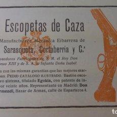 Coleccionismo de Revistas y Periódicos: LAS ESCOPETAS DE CAZA VICTOR SARASQUETA CORTABERRIA EIBAR HOJA AÑO 1905. Lote 135957286