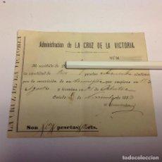 Coleccionismo de Revistas y Periódicos: RECIBO PERIÓDICO LA CRUZ DE LA VICTORIA. DIARIO DEL PRINCIPADO DE ASTURIAS.. . Lote 136549786
