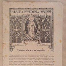 Coleccionismo de Revistas y Periódicos: IGLESIA DE NTRA SEÑORA DE POMPEYA BARCELONA BOLETIN DOMINICAL ENERO 1910 RELIGION. Lote 136552170